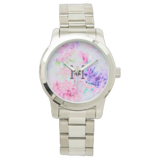 Watercolor floral pink aster pattern monogram watch