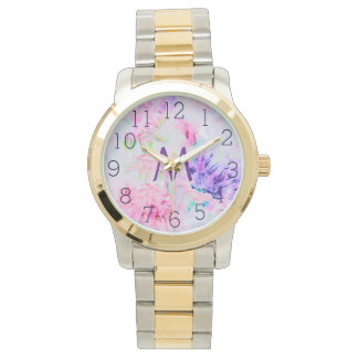 Watercolor floral pink aster pattern monogram wristwatch