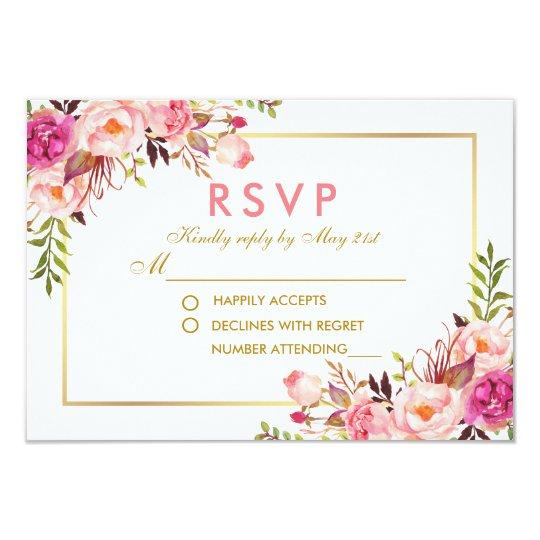 Watercolor Floral Pink Blush Gold RSVP Wedding P Card
