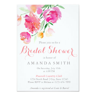 Watercolor Floral Pink Bridal Shower Card