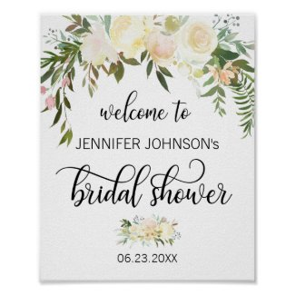 Watercolor Floral Pink Bridal Shower WELCOME SIGN