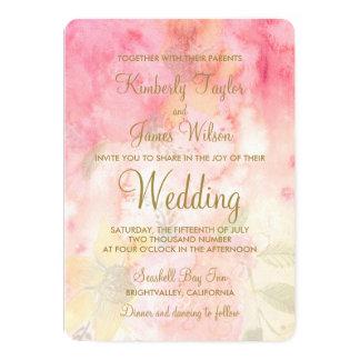 Watercolor Floral Pink Formal Wedding Invitation
