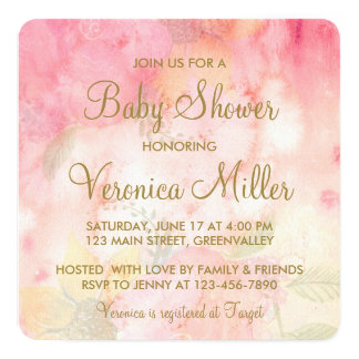 Watercolor Floral Pink Gold Baby Shower Invitation