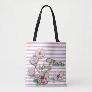 "Watercolor Floral Pink Magnolias ""Fleurs"" Tote Bag"