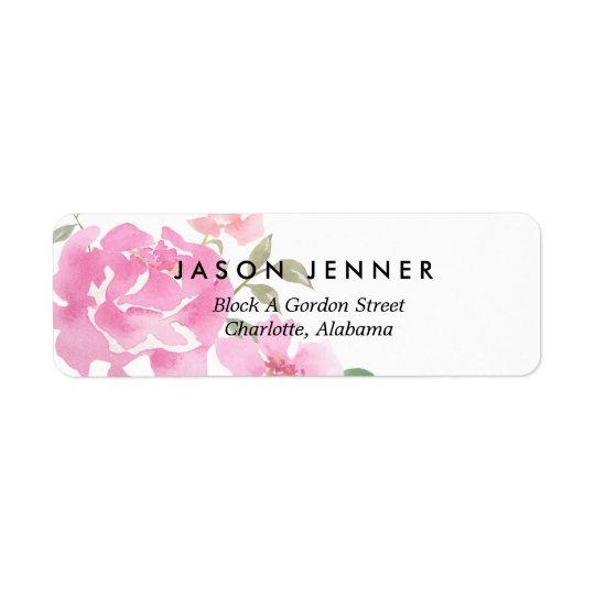 Watercolor Floral Pink Peonies Wedding Chic Return Address Label