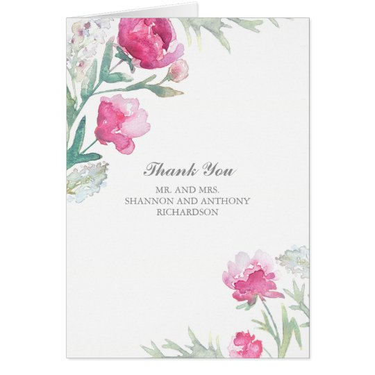 watercolor floral - pink peony wedding thank you card