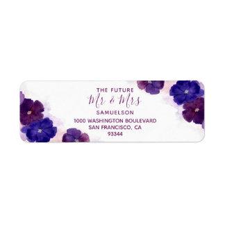 Watercolor Floral Plum Purple Mr & Mrs Wedding