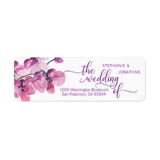 Watercolor Floral Plum Purple Orchids Wedding