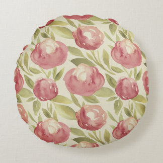Watercolor floral print, bright, green, violet round pillow