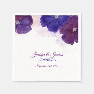 Watercolor Floral Purple Plum Violet Wedding Paper Napkin