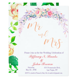 Watercolor Floral Purple Wedding Invitation