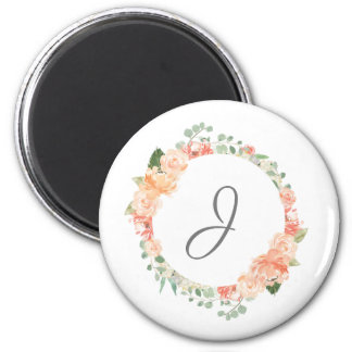 Watercolor Floral Ring with Any Monogram Magnet