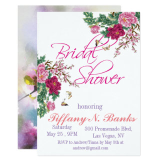 Watercolor Floral Romance bridal shower invitation
