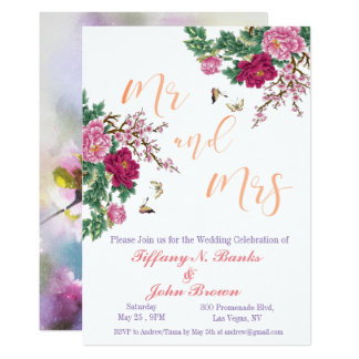 Watercolor Floral Romance Wedding Invitation