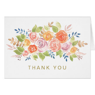 Watercolor Floral Rose Gold Generic Thank You Card