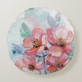 Watercolor Floral Round Throw Pillow