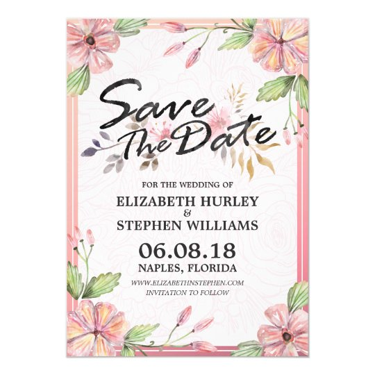 Watercolor Floral Script Wedding Save The Date Card