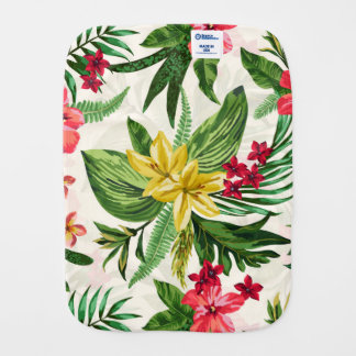 Watercolor Floral Seamless Pattern Burp Cloth