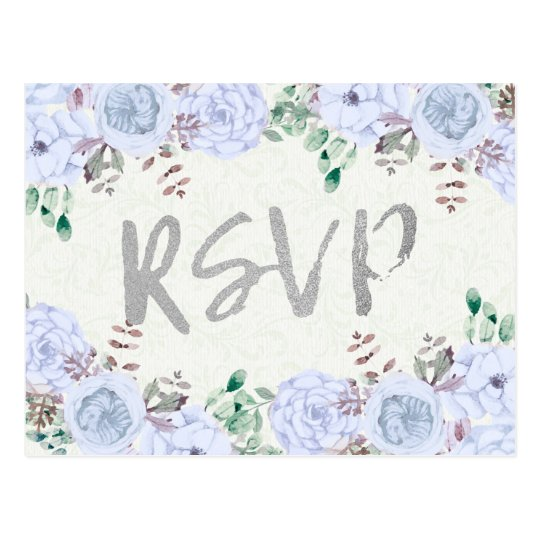 Watercolor Floral Silver Script Wedding RSVP Reply Postcard