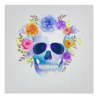 Watercolor floral skull illustration poster
