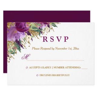 Watercolor Floral Sparkling Amethyst Wedding RSVP Card