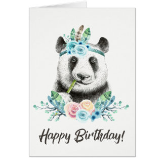 Watercolor Floral Spray Boho Panda Happy Birthday Card
