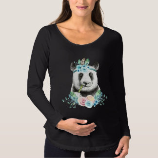 Watercolor Floral Spray Boho Panda Maternity T-Shirt