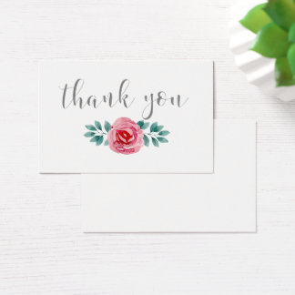 Watercolor Floral Spray Thank You Business Card