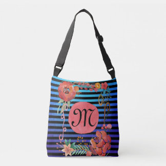 Watercolor Floral Striped Monogram Crossbody Bag