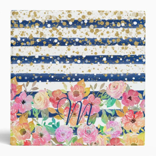 Watercolor floral stripes and confetti design 3 ring binder