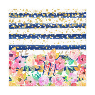 Watercolor floral stripes and confetti design canvas print