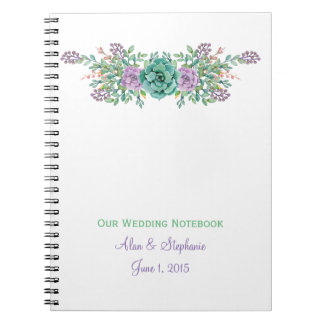 Watercolor Floral Succulent Wedding Planning Notebooks