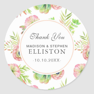 Watercolor Floral & Succulents   Thank You Classic Round Sticker