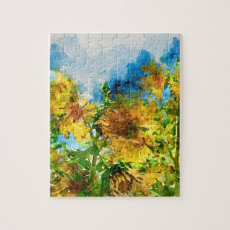 Watercolor Floral Sunflowers Jigsaw Puzzle