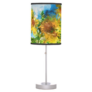 Watercolor Floral Sunflowers Table Lamp