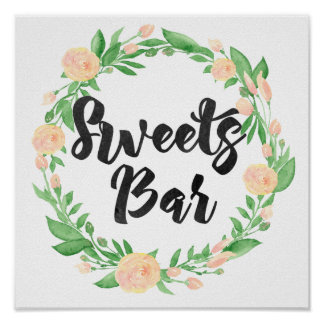 Watercolor Floral Sweets Bar Sign