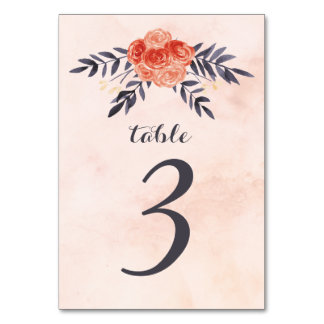 Watercolor Floral Table Numbers
