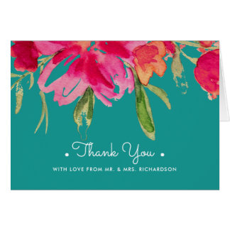 Watercolor Floral Thank You Wedding Photocards Card