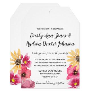Watercolor Floral Typography Wedding Invitations