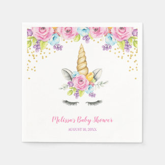 Watercolor Floral Unicorn Baby Shower Disposable Napkins