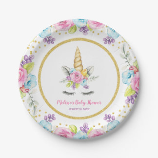 Watercolor Floral Unicorn Baby Shower Paper Plate