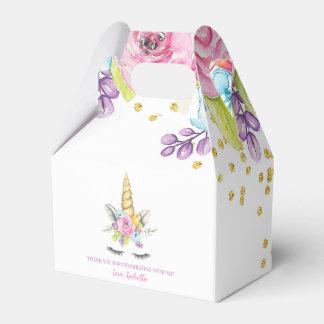 Watercolor Floral Unicorn Birthday Favor Box