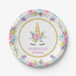 Watercolor Floral Unicorn Birthday Paper Plate