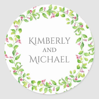 Watercolor Floral Vines Garden Wedding Round Sticker