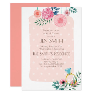 Watercolor Floral Wedding Bridal Shower Invitation