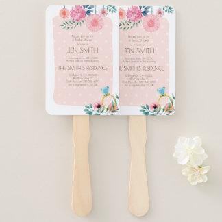 Watercolor Floral Wedding Bridal Shower Invitation Hand Fan