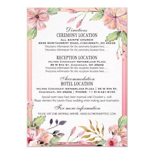 Watercolor Floral Wedding Details Information Card