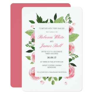 Watercolor Floral Wedding Invitation Vintage