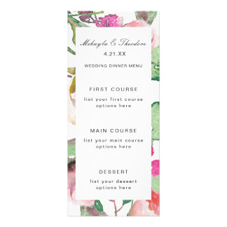 Watercolor Floral Wedding Menu Card