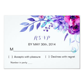 Watercolor Floral Wedding   R S V P Reply Card